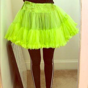 lime green puffer skirt